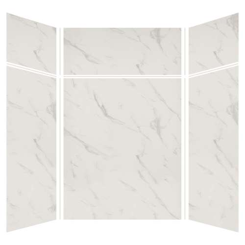 Silhouette 60-in x 60-in x 72/24-in Glue to Wall 3-Piece Transition Shower Wall Kit, Pearl Stone