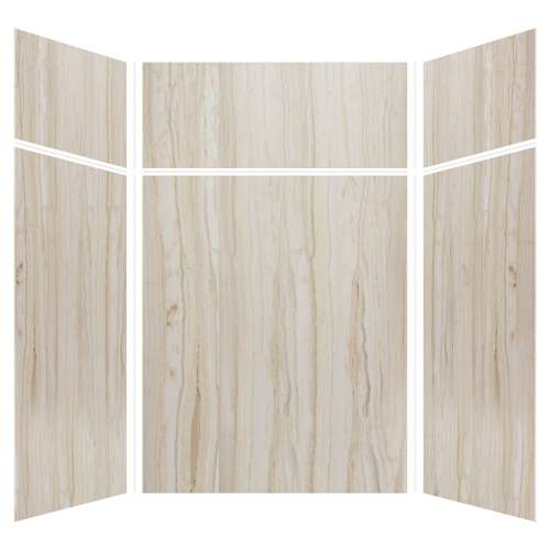 Silhouette 60-in x 60-in x 72/24-in Glue to Wall 3-Piece Transition Shower Wall Kit, Jupiter Stone
