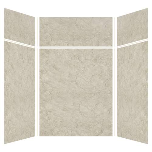 Silhouette 60-in x 60-in x 72/24-in Glue to Wall 3-Piece Transition Shower Wall Kit, Tundra