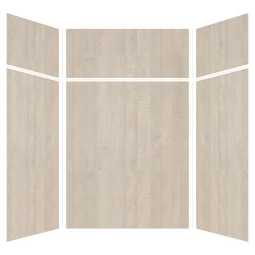 Silhouette 60-in x 60-in x 72/24-in Glue to Wall 3-Piece Transition Shower Wall Kit, Washed Oak