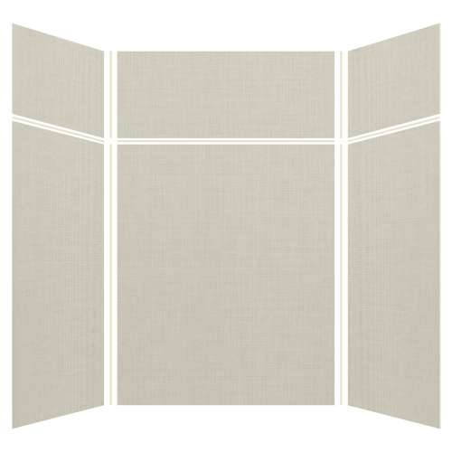 Silhouette 60-in x 60-in x 72/24-in Glue to Wall 3-Piece Transition Shower Wall Kit, Linen