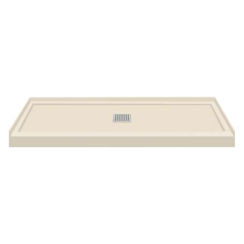 60-in x 36-in Single Threshold Center Drain Shower Base, Biscuit