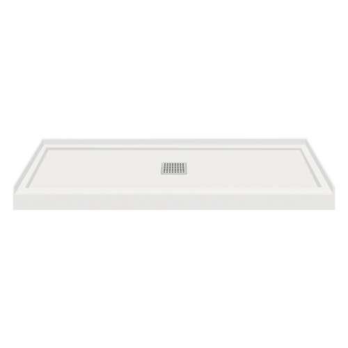60-in x 36-in Single Threshold Center Drain Shower Base, Grey