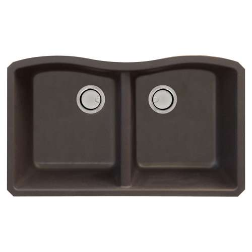 Samuel Mueller Adagio Granite 32-in Kitchen Sink Kit with Grids, Strainers and Drain Installation Kit in Espresso