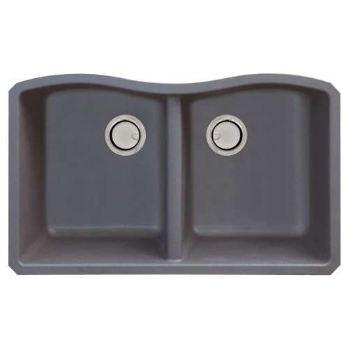 Samuel Mueller Adagio Granite 32-in Kitchen Sink Kit with Grids, Strainers and Drain Installation Kit in Grey