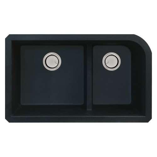 Samuel Mueller Renton Granite 31-in Undermount Kitchen Sink Kit with Grids, Strainers and Drain Installation Kit in Black