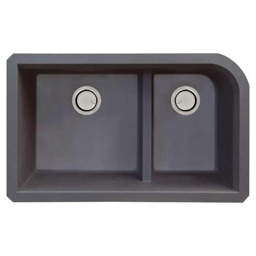 Samuel Mueller Renton Granite 31-in Undermount Kitchen Sink Kit with Grids, Strainers and Drain Installation Kit in Grey