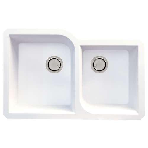 Samuel Mueller Renton Granite 31-in Undermount Kitchen Sink Kit with Grids, Strainers and Drain Installation Kit in White