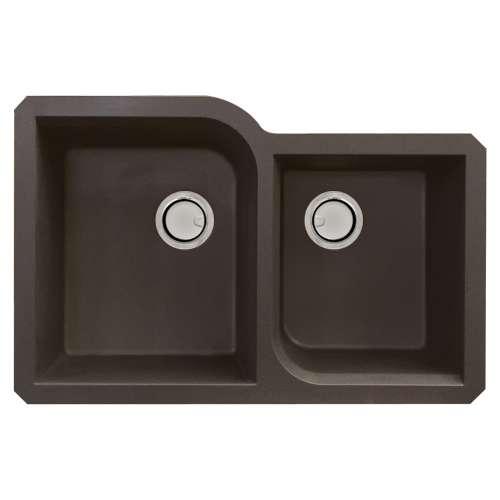 Samuel Mueller Renton Granite 31-in Undermount Kitchen Sink Kit with Grids, Strainers and Drain Installation Kit in Espresso