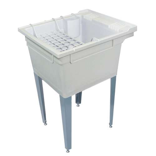 Samuel Mueller Compostite 22-in Floor Mounted Laundry Tub with Steel Legs and Accessory Kit