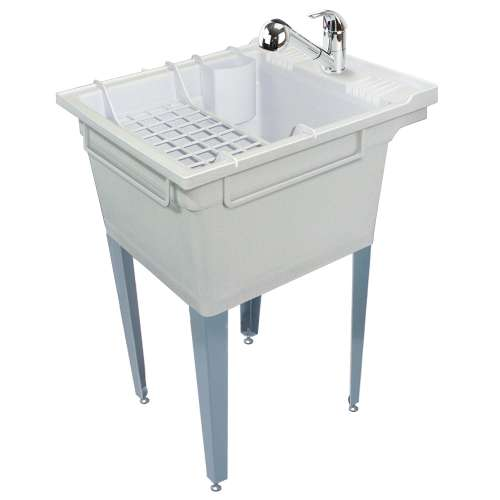 Samuel Mueller Compostite 22-in Floor Mounted Laundry Tub with Steel Legs, Faucet and Accessory Kit