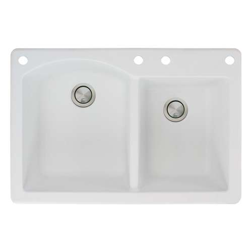 Samuel Mueller Adagio 33in x 22in silQ Granite Drop-in Double Bowl Kitchen Sink with 4 BACE Faucet Holes, In White