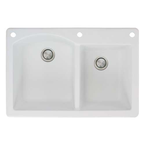 Samuel Mueller Adagio 33in x 22in silQ Granite Drop-in Double Bowl Kitchen Sink with 3 BAE Faucet Holes, In White