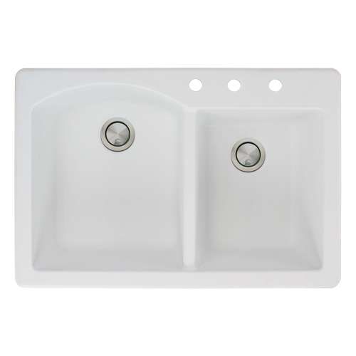 Samuel Mueller Adagio 33in x 22in silQ Granite Drop-in Double Bowl Kitchen Sink with 3 BCD Faucet Holes, In White