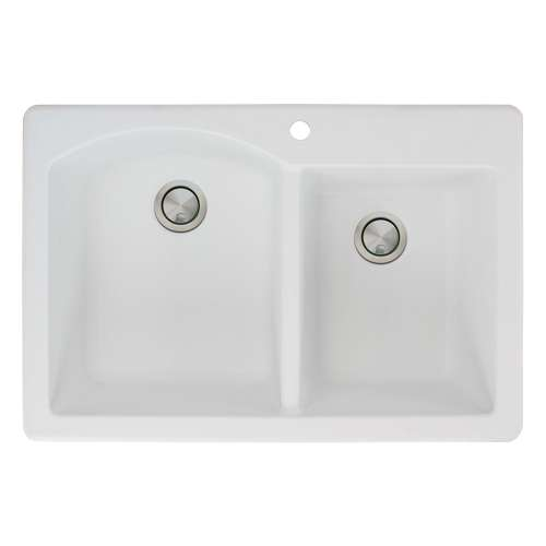 Samuel Mueller Adagio Granite 33-in Drop-In Kitchen Sink Kit with Grids, Strainers and Drain Installation Kit in White