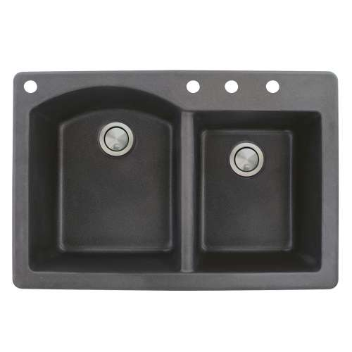 Samuel Mueller Adagio 33in x 22in silQ Granite Drop-in Double Bowl Kitchen Sink with 4 BACD Faucet Holes, In Black
