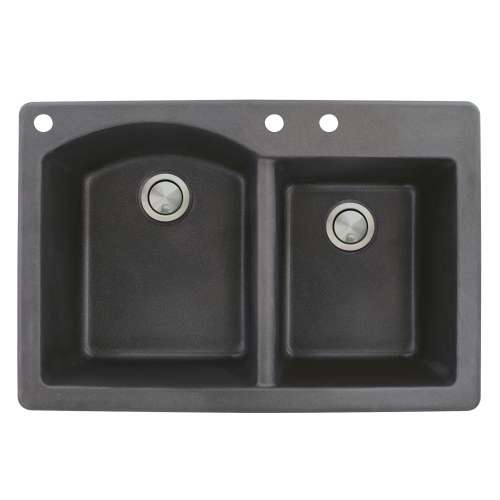 Samuel Mueller Adagio 33in x 22in silQ Granite Drop-in Double Bowl Kitchen Sink with 3 BAC Faucet Holes, In Black