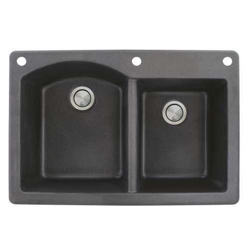Samuel Mueller Adagio 33in x 22in silQ Granite Drop-in Double Bowl Kitchen Sink with 3 BAE Faucet Holes, In Black