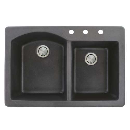 Samuel Mueller Adagio 33in x 22in silQ Granite Drop-in Double Bowl Kitchen Sink with 3 BCD Faucet Holes, In Black