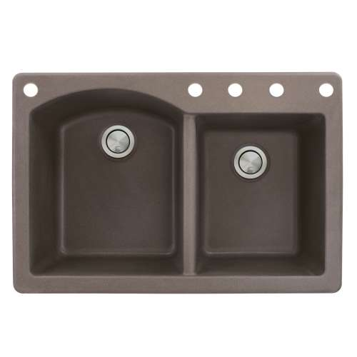 Samuel Mueller Adagio 33in x 22in silQ Granite Drop-in Double Bowl Kitchen Sink with 5 BACDE Faucet Holes, In Espresso