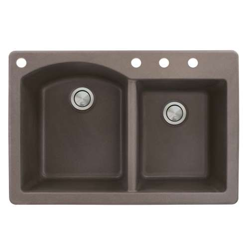 Samuel Mueller Adagio 33in x 22in silQ Granite Drop-in Double Bowl Kitchen Sink with 4 BACD Faucet Holes, In Espresso