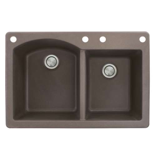 Samuel Mueller Adagio 33in x 22in silQ Granite Drop-in Double Bowl Kitchen Sink with 4 BACE Faucet Holes, In Espresso