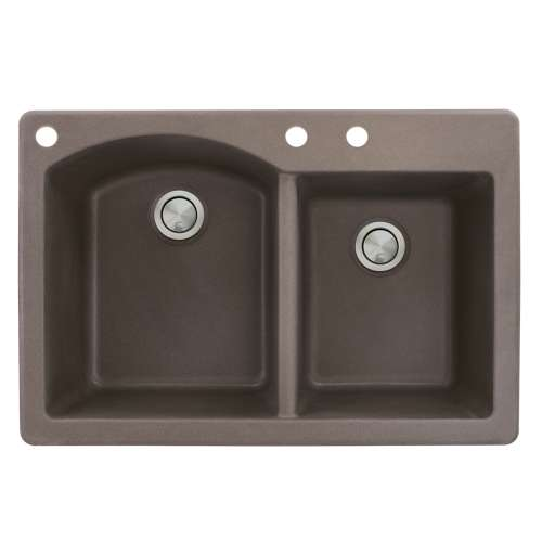 Samuel Mueller Adagio 33in x 22in silQ Granite Drop-in Double Bowl Kitchen Sink with 3 BAC Faucet Holes, In Espresso