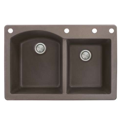Samuel Mueller Adagio 33in x 22in silQ Granite Drop-in Double Bowl Kitchen Sink with 4 BADE Faucet Holes, In Espresso