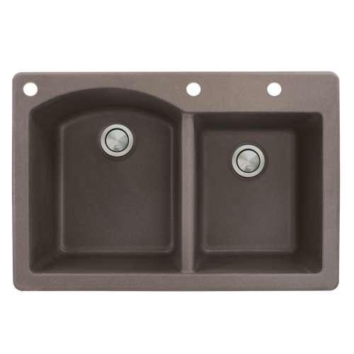 Samuel Mueller Adagio 33in x 22in silQ Granite Drop-in Double Bowl Kitchen Sink with 3 BAD Faucet Holes, In Espresso