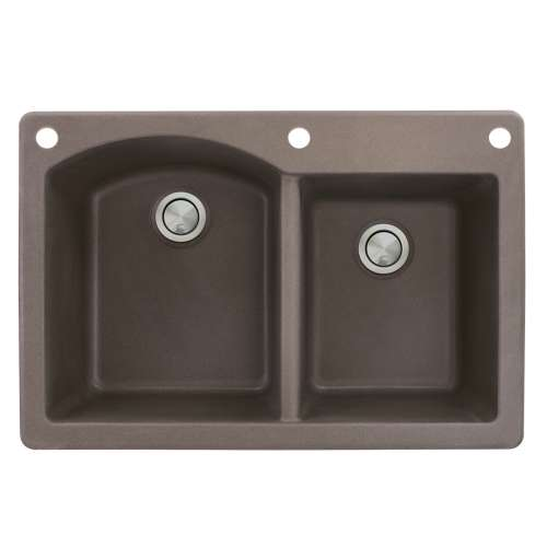 Samuel Mueller Adagio 33in x 22in silQ Granite Drop-in Double Bowl Kitchen Sink with 3 BAE Faucet Holes, In Espresso