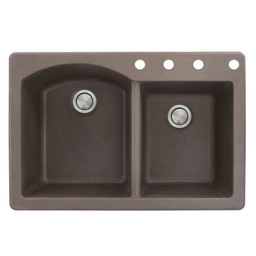 Samuel Mueller Adagio 33in x 22in silQ Granite Drop-in Double Bowl Kitchen Sink with 4 BCDE Faucet Holes, In Espresso