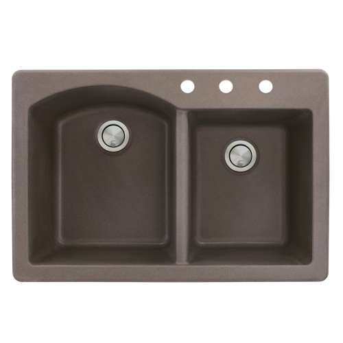 Samuel Mueller Adagio 33in x 22in silQ Granite Drop-in Double Bowl Kitchen Sink with 3 BCD Faucet Holes, In Espresso