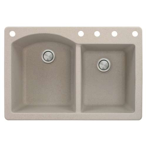 Samuel Mueller Adagio 33in x 22in silQ Granite Drop-in Double Bowl Kitchen Sink with 5 BACDE Faucet Holes, In Cafe Latte