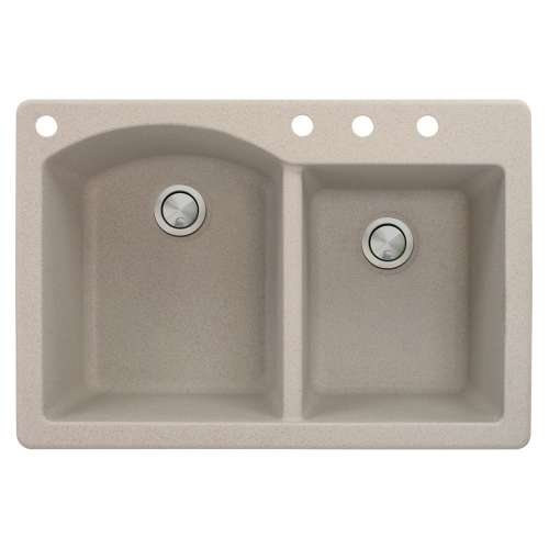 Samuel Mueller Adagio 33in x 22in silQ Granite Drop-in Double Bowl Kitchen Sink with 4 BACD Faucet Holes, In Cafe Latte