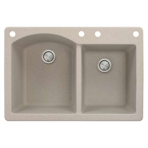 Samuel Mueller Adagio 33in x 22in silQ Granite Drop-in Double Bowl Kitchen Sink with 4 BACE Faucet Holes, In Cafe Latte