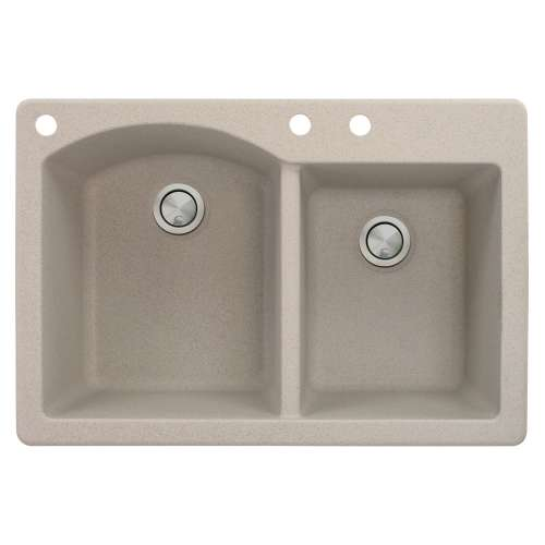 Samuel Mueller Adagio 33in x 22in silQ Granite Drop-in Double Bowl Kitchen Sink with 3 BAC Faucet Holes, In Cafe Latte