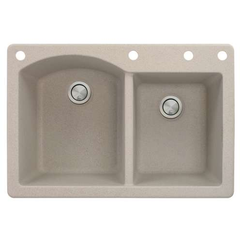 Samuel Mueller Adagio 33in x 22in silQ Granite Drop-in Double Bowl Kitchen Sink with 4 BADE Faucet Holes, In Cafe Latte