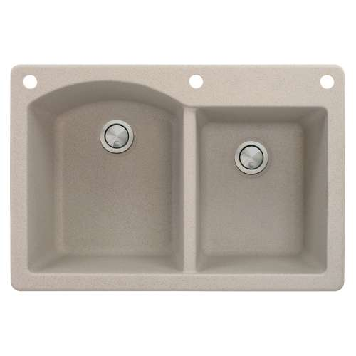 Samuel Mueller Adagio 33in x 22in silQ Granite Drop-in Double Bowl Kitchen Sink with 3 BAE Faucet Holes, In Cafe Latte