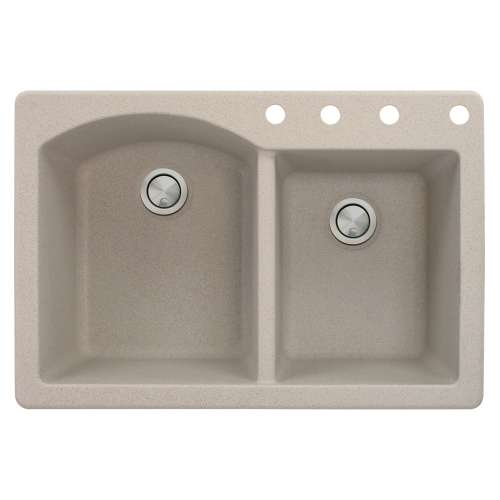 Samuel Mueller Adagio 33in x 22in silQ Granite Drop-in Double Bowl Kitchen Sink with 4 BCDE Faucet Holes, In Cafe Latte