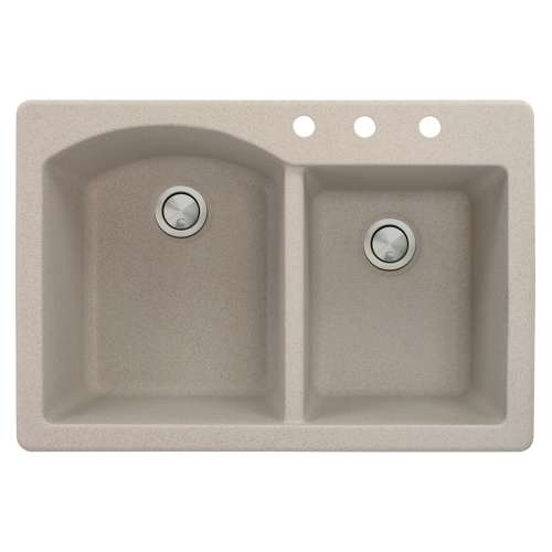Samuel Mueller Adagio 33in x 22in silQ Granite Drop-in Double Bowl Kitchen Sink with 3 BCD Faucet Holes, In Cafe Latte