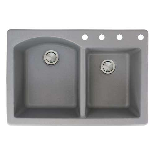 Samuel Mueller Adagio 33in x 22in silQ Granite Drop-in Double Bowl Kitchen Sink with 4 BCDE Faucet Holes, In Grey