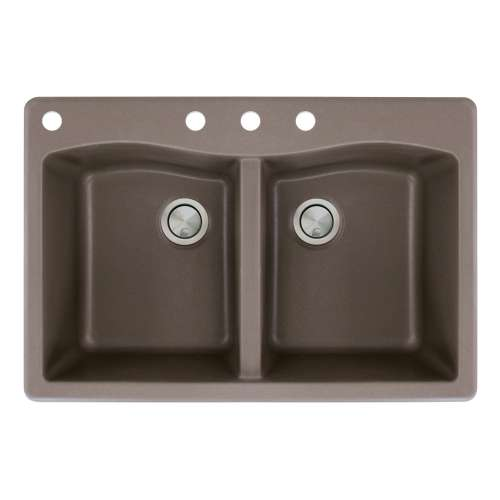 Samuel Mueller Adagio 33in x 22in silQ Granite Drop-in Double Bowl Kitchen Sink with 4 CABD Faucet Holes, in Espresso