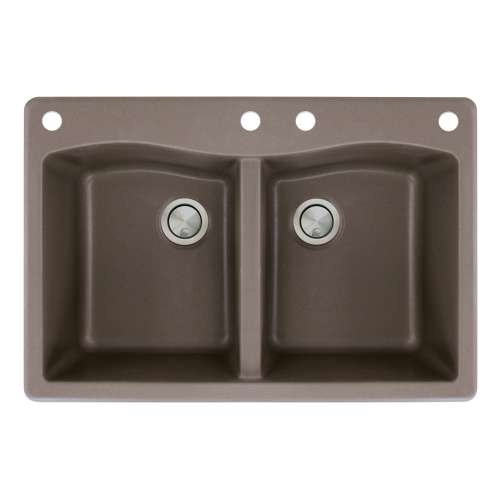 Samuel Mueller Adagio 33in x 22in silQ Granite Drop-in Double Bowl Kitchen Sink with 4 CADE Faucet Holes, in Espresso