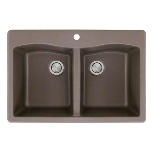 Samuel Mueller Adagio Granite 33-in Drop-In Kitchen Sink Kit with Grids, Strainers and Drain Installation Kit in Espresso