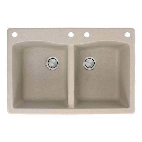 Samuel Mueller Adagio 33in x 22in silQ Granite Drop-in Double Bowl Kitchen Sink with 4 CADE Faucet Holes, in Cafe Latte