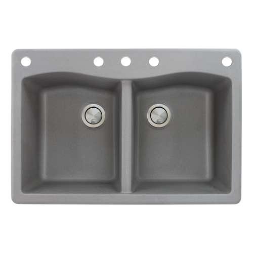Samuel Mueller Adagio 33in x 22in silQ Granite Drop-in Double Bowl Kitchen Sink with 5 CABDE Faucet Holes, in Grey