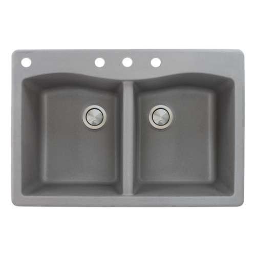 Samuel Mueller Adagio 33in x 22in silQ Granite Drop-in Double Bowl Kitchen Sink with 4 CABD Faucet Holes, in Grey