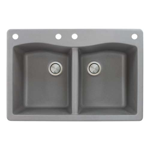 Samuel Mueller Adagio 33in x 22in silQ Granite Drop-in Double Bowl Kitchen Sink with 4 CABE Faucet Holes, in Grey