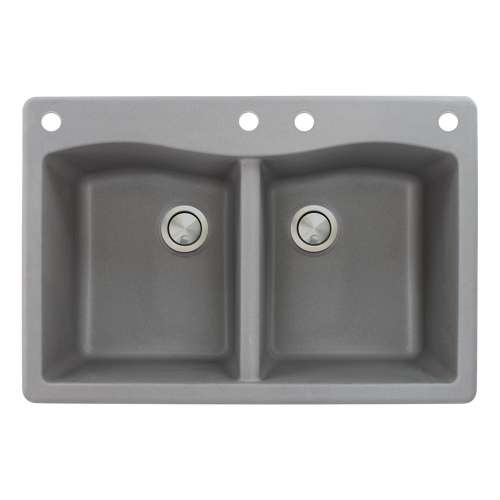 Samuel Mueller Adagio 33in x 22in silQ Granite Drop-in Double Bowl Kitchen Sink with 4 CADE Faucet Holes, in Grey