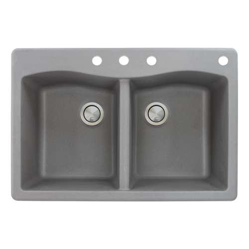 Samuel Mueller Adagio 33in x 22in silQ Granite Drop-in Double Bowl Kitchen Sink with 4 CBDE Faucet Holes, in Grey